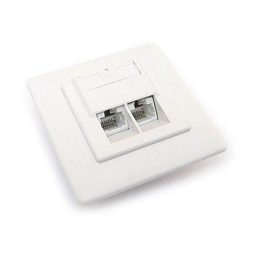 Розетка RJ-45, двойная, категория 5e, внутренняя, Hyperline SB-GTF2-8P8C-C5E-WH